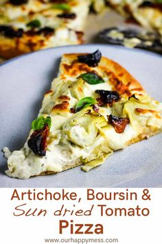 Artichokes have the starring role in this pizza, which also features a creamy herb and garlic Boursin cheese sauce, tangy sun dried tomatoes, and fresh mozzarella. This is truly the best artichoke and sun dried tomato pizza. Boursin Cheese, Vegan Cheese, Cheese Fruit, Vegetarian Pizza, Vegetarian Recipes, Cooking Recipes, Skillet Recipes, Vegetable Pizza Recipes, Snacks