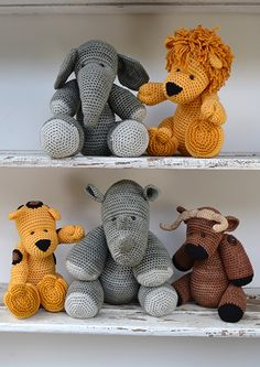 #crochet, Free Pattern 38: The Big Five, elephant, lion, leopard, rhino, buffalo, stuffed toy, #haken, gratis patroon 5x (Engels), olifant, leeuw, luipaard, neushoorn, buffel, knuffel, speelgoed, #haakpatroon