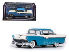 diecastmodelswholesale -  1956 Ford Fairlane Hard Top Bermuda Blue and Colonial White 1/43 Diecast Model Car by Vitesse, $24.99 (https://www.diecastmodelswholesale.com/1956-ford-fairlane-hard-top-bermuda-blue-and-colonial-white-1-43-diecast-model-car-by-vitesse/)