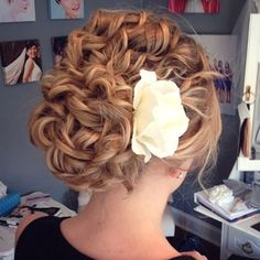 "Curly bridal updo hairstyle from our friends at Erin Blair Makeup & Hair featuring our ""Gemma"" real feel bridal hair flower rose."