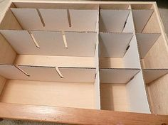 Cardboard Drawer Dividers | Begin assembling the dividers into the drawer.