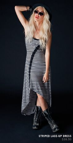 Black And White Stripe Hi-Lo Lace-Up Dress
