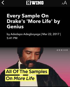 Every sample on #Drake's #MoreLife playlist available now on hwing.net - - #NewMusic #Hiphop #HipHopNews #Music #MusicNews #Rap #RapNews #NewMusicAlert #RnB #GrimeNews #GrimeMusic #UKMusic #Grime #HWING #UKHiphop #NaijaMusic #Afrobeats #NewSong | #musicproduction #musicislife #musicfestival #musiclove #musiccity #추천곡 #musiclovers #musicproducer #soundcloud #hwing  X