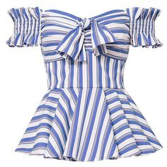 Caroline Constas Women's Artemis Striped Off Shoulder Bustier Top ($395) ❤ liked on Polyvore featuring tops, striped off-the-shoulder tops, smocked top, bow top, off shoulder peplum top and off the shoulder tops