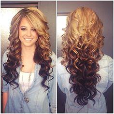 Full Lace Brazilian Virgin Ombre Medium Loose Wavy Curl 2 Tone #27/4 Human Hair
