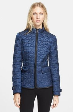 Burberry+Brit+'Laycroft'+Leather+Trim+Quilted+Moto+Jacket+available+at+#Nordstrom