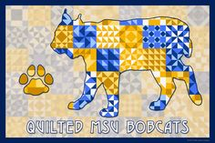The Quilted Montana State Bobcats.  Susan Davis, owner of Olde American Antiques and American Quilt Blocks, has created a series of original quilt block designs for universities and colleges in the United States.   Each of these designs is unique with a distinct color combination using the school colors and a matching border to enhance the overall pattern. These are the first quilt block designs created specifically for universities and colleges and are new to the quilting hobby.