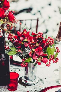 Winter red and silver #centerpieces {Rachel A. Clingen Wedding And Event Design} #weddings
