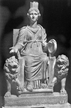A statue of the Magna Mater / Cybele (h. 0.98), possibly from Ostia.  Only women (and castrated men) were allowed to attend the main celebrations of the goddess, which quickly got the reputation of being less religious ritual and more wild orgies.