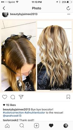 Color correction! Corrected box color with a gorgeous blonde bayalage and color melt using allnutrient color line! 6N on base melted with lightener, opalex and 40 volume!