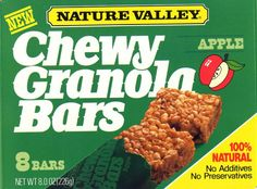 Who remembers reaching into their 1980s lunch box and getting excited because you got a Nature Valley Chewy Apple Granola Bar?!