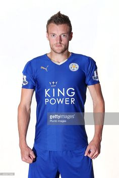 Jamie Vardy poses during the Leicester City Photocall at Belvoir Drive Training Ground on July 31, 2015 in Leicester, United Kingdom.