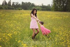 Family photography mother and daughter shoot in yellow flower field. Vancouver photography studio. http://www.photosbyblush.com/blog