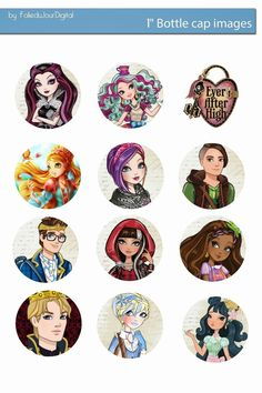 Free Bottle Cap Images: Ever After high free digital bottle cap images