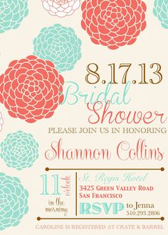 Coral Pink and Teal Subway Art Inspired Bridal Shower Invitation Invitation - DIY DIGITAL DOWNLOAD
