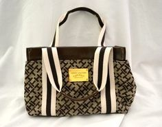 Authentic Tommy Hilfiger Small Beige and Brown Tote Handbag | eBay $15.99