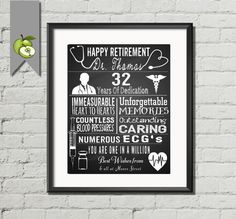 Retirement gift for a Doctor, Nurse, Personalised typography chalkboard unique gift personalised man or women DIY Printable