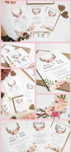 Love these antler wedding invitations!
