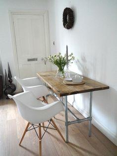 Vintage Industrial Style Dining Table/Desk with Steel Legs & Scaffold Top Industrial Style Dining Table, Vintage Industrial, Wooden Desk, Recycled Wood, Table Desk, War, Legs, Steel, Room