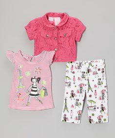 Another great find on #zulily! Pink Rhinestone Button-Up Jacket Set - Infant & Toddler #zulilyfinds