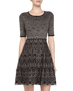 Printed A-Line Sweater Dress, Grey/Black by 5twelve at Neiman Marcus Last Call.
