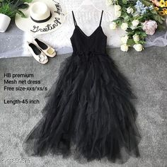 Checkout this latest Dresses Product Name: *High-Buy chrochet upper net frill party wear dress free size(xxs/xs/s) length-45 inches-black* Fabric: Net Sleeve Length: Sleeveless Pattern: Solid Multipack: 1 Sizes: Free Size (Bust Size: 32 in, Length Size: 45 in)  Country of Origin: India Easy Returns Available In Case Of Any Issue   Catalog Rating: ★4 (259)  Catalog Name: Women's Net Dresses CatalogID_2248735 C79-SC1025 Code: 598-11850879-8742