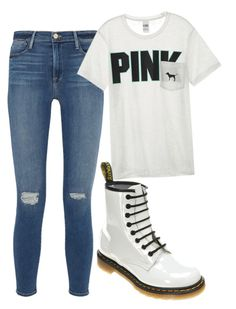 """""""Untitled #43"""" by whitwhitmartin on Polyvore featuring Frame Denim, Victoria's Secret and Dr. Martens"""