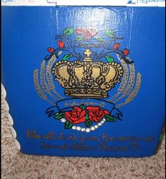 "AOII ""Crest"" Cooler!  This is so great!  Do Lilly pattern on other side! ..........  Wheat, roses, pearls, pandas, and The Loving Cup!!!!!"