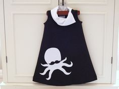 Girls dress Hipster Mustache Octopus sleeveless by TeenyBunny, $58.00