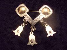 Latvian Brooch Osvalds Grins Baltic Amber Sterling Silver.