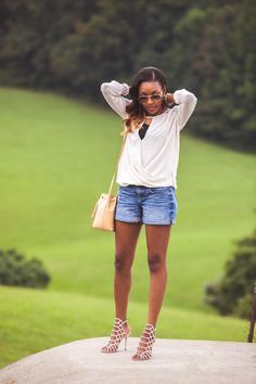 Touches of Fall   Live Love and Read   summer to fall outfits, how to dress up denim shorts