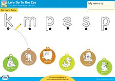 """Let's Go To The Zoo"" Lowercase Letter Matching Worksheet from Super Simple Learning. #preK #Kindergarten #ESL"