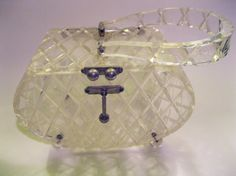 Heavily Carved Clear Lucite Box Purse 1950s by Gabdeluxe on Etsy, $35.00
