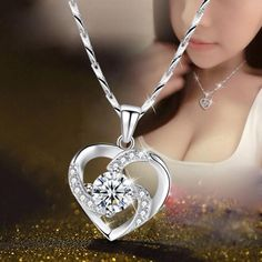 KOFSAC New Luxury Crystal CZ Heart Pendant Choker Necklace 925 Sterling Silver Chain Necklaces For Women Wedding Jewelry Gifts Wedding Jewellery Gifts, Jewelry Gifts, Fine Jewelry, Charm Jewelry, Jewlery, Women Jewelry, Heart Pendant Necklace, Silver Pendant Necklace, Necklace Types