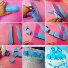 How to make perfect fondant cubes/blocks. Roll a really thick fondant sausage. Press a ruler in the centre slightly so the inside of the… Fondant Tips, Frosting Tips, Fondant Baby, Fondant Icing, Fondant Tutorial, Fondant Cakes, Fondant Recipes, Cake Recipes, Cake Icing Techniques