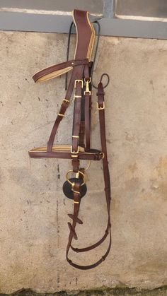 Brown leather bridle size horse by LDCuirArt on Etsy