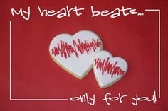Heartbeat sugar cookies. Thought this was cute. Someday in the future I'll have someone to make these for Valentines Day Holiday, Valentines Day Cookies, Valentine Treats, Valentine Day Love, Valentine Stuff, Happy Love Day, Love Days, Heart Cookies, Cupcake Cookies