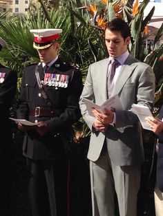 ‎HenryCavill‬ and his brother Nik at Royal Marine Service ahead of Freedom of Gibraltar Parade.