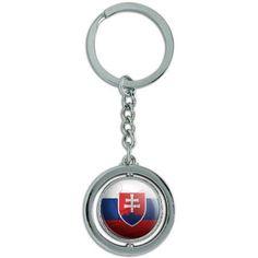 Slovakia Flag Soccer Ball Futbol Football Spinning Round Metal Key Chain Keychain Ring, Silver