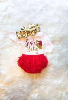 34cb5546219 Santa Baby Girl Christmas Outfit Baby s First Christmas Gold and Red  Glitter Newborn Baby Shower Gift Christmas Bodysuit Christmas Outfit