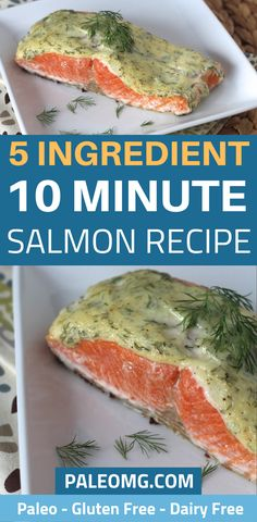 5 Ingredient 10 Minute Creamy Dill Salmon – PaleOMG Who has time to spend hours in the kitchen? Come see how easy this 5 ingredient salmon dinner is. This 10 minute salmon. Salmon Recipes, Fish Recipes, Real Food Recipes, Yummy Food, Creamy Dill Sauce, Dill Salmon, Salmon Dinner, Healthy Breakfast Recipes, Healthy Recipes