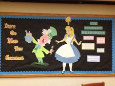 Alice in Wonderland themed Student Resources Bulletin Board