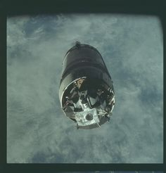 """Apollo launched on March was the first crewed flight of the lunar module in Earth orbit. Here the lunar module """"Spider,"""" viewed from command module """"Gumdrop,"""" awaits extraction from the third stage of the Saturn V rocket (S-IVB). Nasa Missions, Moon Missions, Apollo Missions, Apollo Space Program, Nasa Space Program, Cosmos, Space Images, Space Photos, Programa Apollo"""