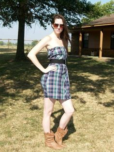 Dress I made from a county/western button down. Cut just below the arms and see in an elastic band on top. Pair with waist belt and your favorite boots!!