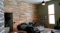 Sustainable Lumber Co. beetle kill pine random width & random length wall paneling.