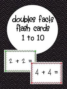 Great set of flash cards to help practice and reinforce doubles math facts for all numbers between 1 and Cards have cute colorful borders and can be used as a math center or as a one on one intervention. Just print, cut, and go! 1st Grade Activities, Kindergarten Math Activities, Alphabet Activities, Math Resources, Teaching Math, Teaching Ideas, Math Doubles, Doubles Facts, Teaching Second Grade