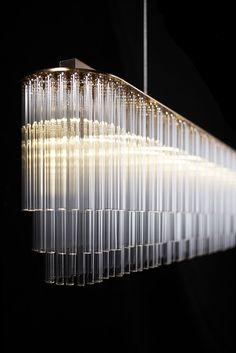 Original design chandelier (glass) - LINEAR - Tom Kirk Lighting by johnnie Linear Chandelier, Contemporary Chandelier, Glass Chandelier, Chandelier Lighting, Chandeliers, Staircase Contemporary, Pendant Lamp, Luxury Lighting, Interior Lighting