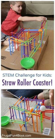 Engineering Project for Kids: Build a Straw Roller Coaster! Use straws to create a track that a ping pong ball will roll on. Fun STEM challenge for kids! Straw Art For Kids, Simple Games For Kids, Fun For Kids, Gym Games For Kids, Science Games For Kids, Building Games For Kids, Educational Games For Kids, Kid Science, Robots For Kids