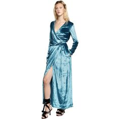 Attico Women Raquel Velvet Wrap Gown (£880) ❤ liked on Polyvore featuring dresses, gowns, turquoise, blue ball gown, long sleeve evening dresses, blue velvet dresses, long sleeve gowns and long sleeve velvet dress