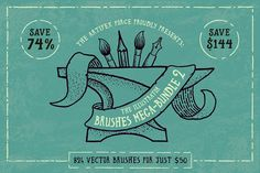 Illustrator Brush Mega-Bundle 2! by The Artifex Forge on @creativemarket